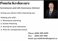 Pouria Keshavarzishirazi - Licensed Life insurance and mutual fund advisor